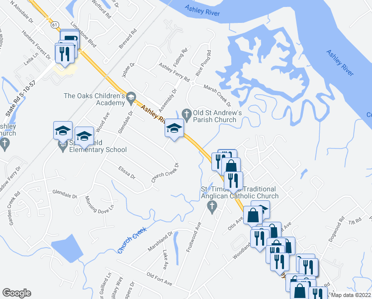 map of restaurants, bars, coffee shops, grocery stores, and more near Ashley River Road in Charleston