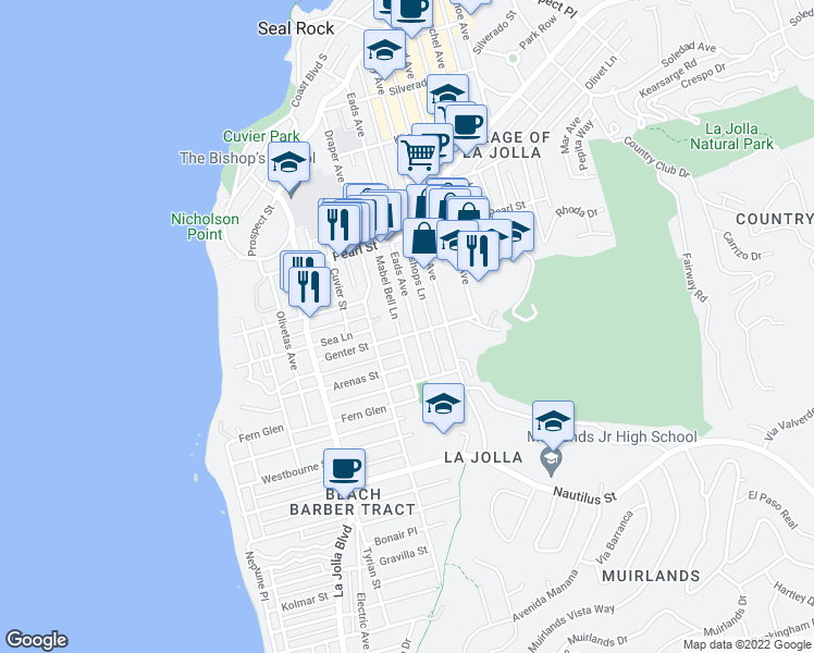 map of restaurants, bars, coffee shops, grocery stores, and more near 7316 Eads Avenue in San Diego
