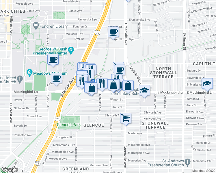 map of restaurants, bars, coffee shops, grocery stores, and more near 5555 East Mockingbird Lane in Dallas