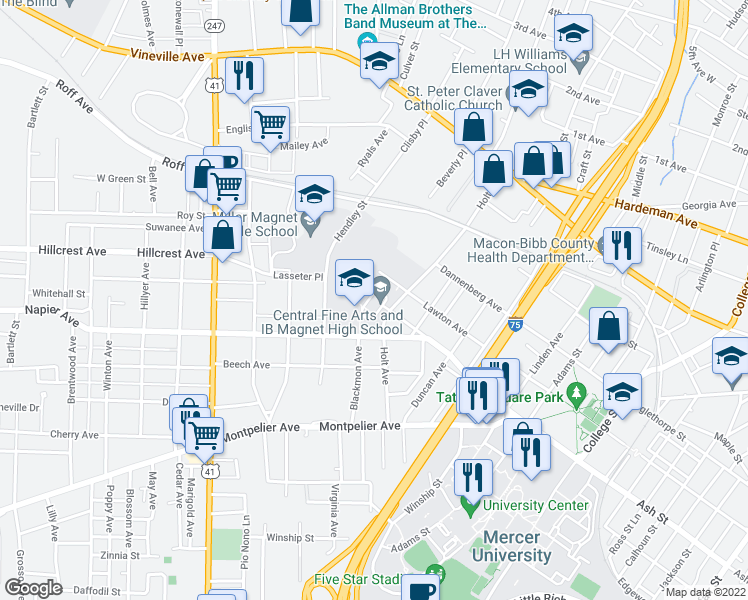 map of restaurants, bars, coffee shops, grocery stores, and more near Lawton Avenue in Macon