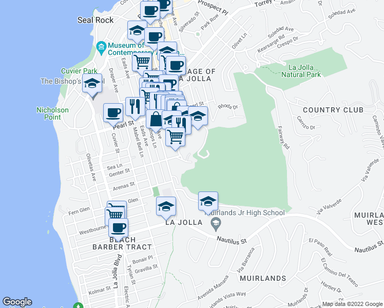 map of restaurants, bars, coffee shops, grocery stores, and more near 1000 Genter Street in San Diego