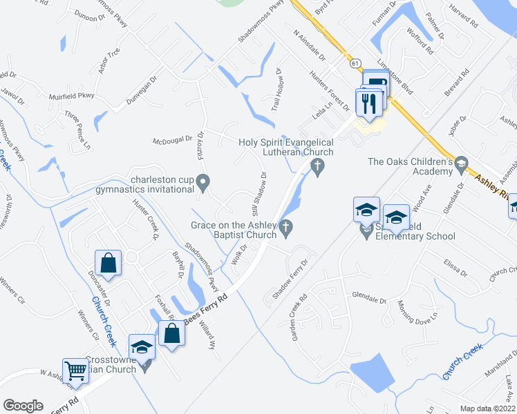 map of restaurants, bars, coffee shops, grocery stores, and more near 74 Still Shadow Drive in Charleston