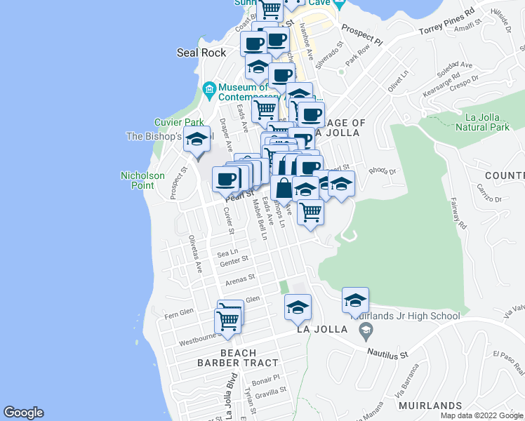 map of restaurants, bars, coffee shops, grocery stores, and more near 7428 Eads Avenue in La Jolla