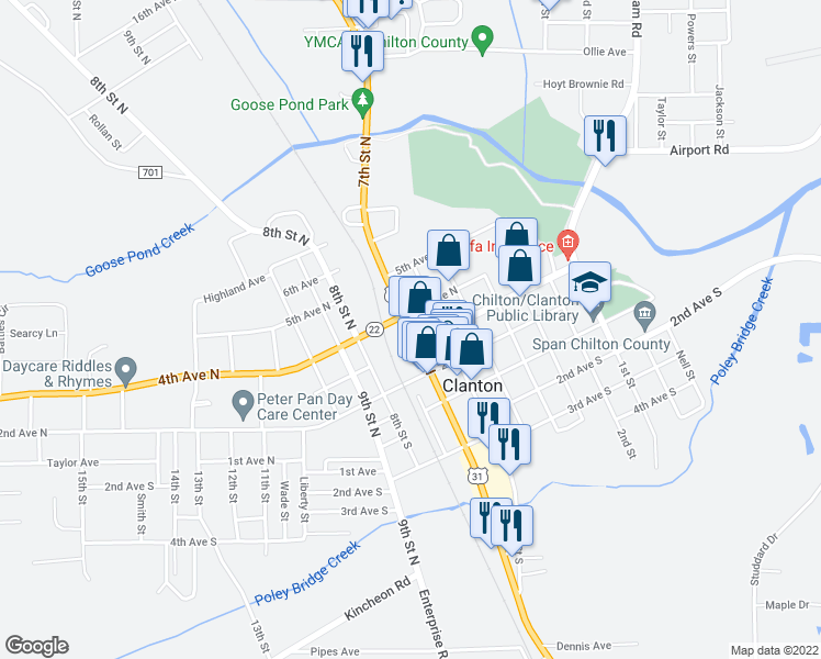 map of restaurants, bars, coffee shops, grocery stores, and more near 603 4th Avenue North in Clanton