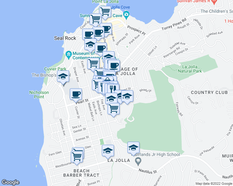 map of restaurants, bars, coffee shops, grocery stores, and more near 1087 Pearl Street in San Diego