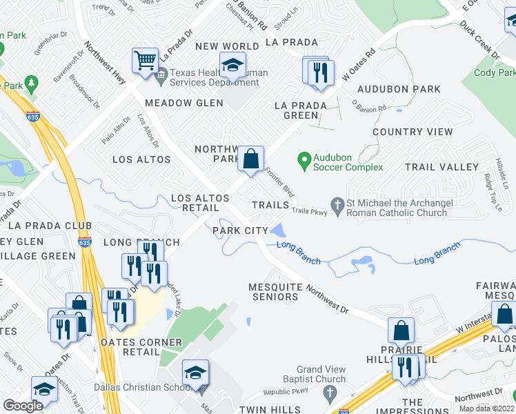 map of restaurants, bars, coffee shops, grocery stores, and more near 5800 Northwest Drive in Mesquite