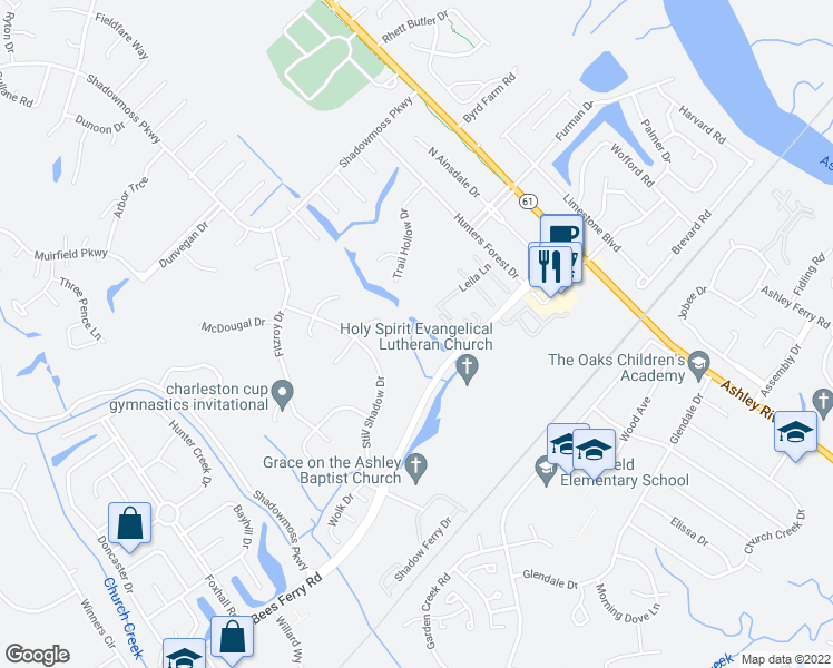 map of restaurants, bars, coffee shops, grocery stores, and more near 9 Loch Carrun Terrace in Charleston
