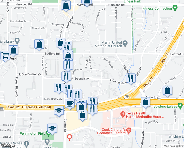 map of restaurants, bars, coffee shops, grocery stores, and more near 2301 L Don Dodson Drive in Bedford