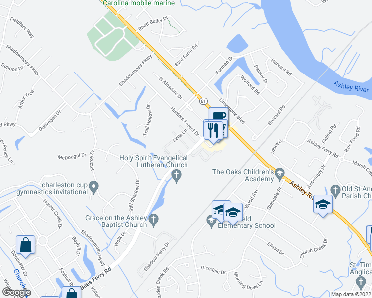 map of restaurants, bars, coffee shops, grocery stores, and more near 2903 Cathedral Lane in Charleston
