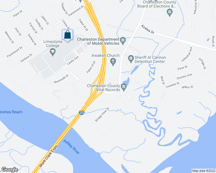 map of restaurants, bars, coffee shops, grocery stores, and more near 4475 Leeds Place West in North Charleston