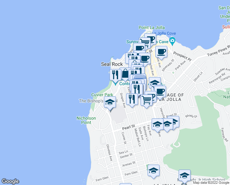 map of restaurants, bars, coffee shops, grocery stores, and more near 616 Prospect Street in San Diego