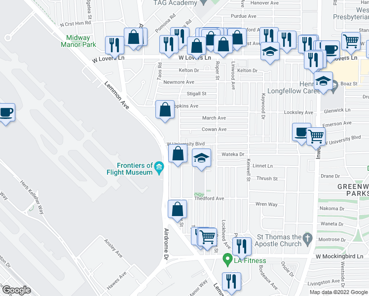map of restaurants, bars, coffee shops, grocery stores, and more near 4400 West University Boulevard in Dallas