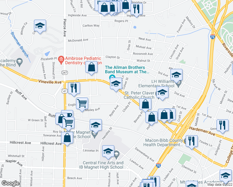 map of restaurants, bars, coffee shops, grocery stores, and more near 2180 Vineville Avenue in Macon