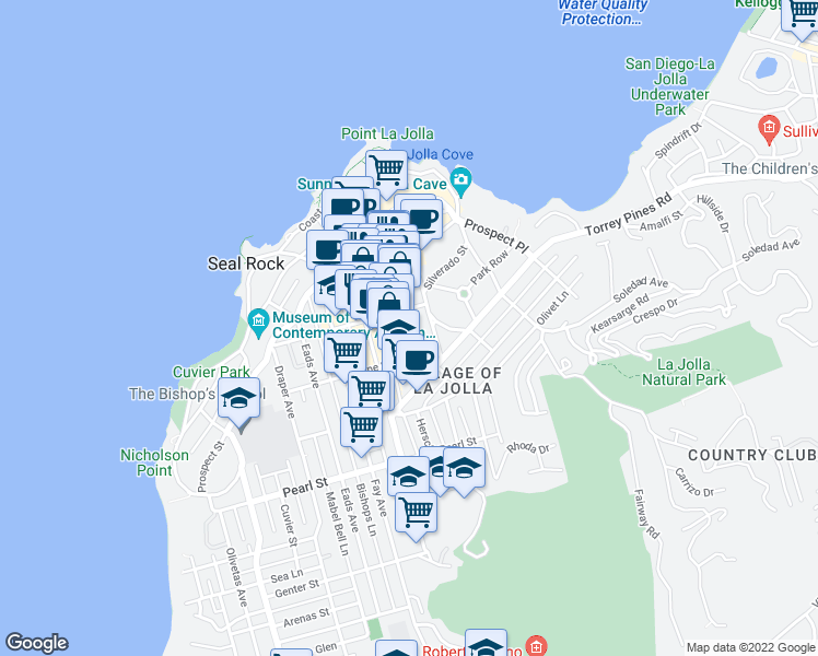 map of restaurants, bars, coffee shops, grocery stores, and more near 7747 Herschel Avenue in San Diego