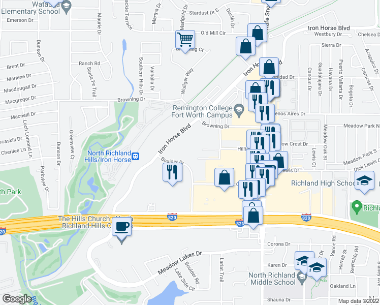 map of restaurants, bars, coffee shops, grocery stores, and more near 6424 Iron Horse Boulevard in North Richland Hills