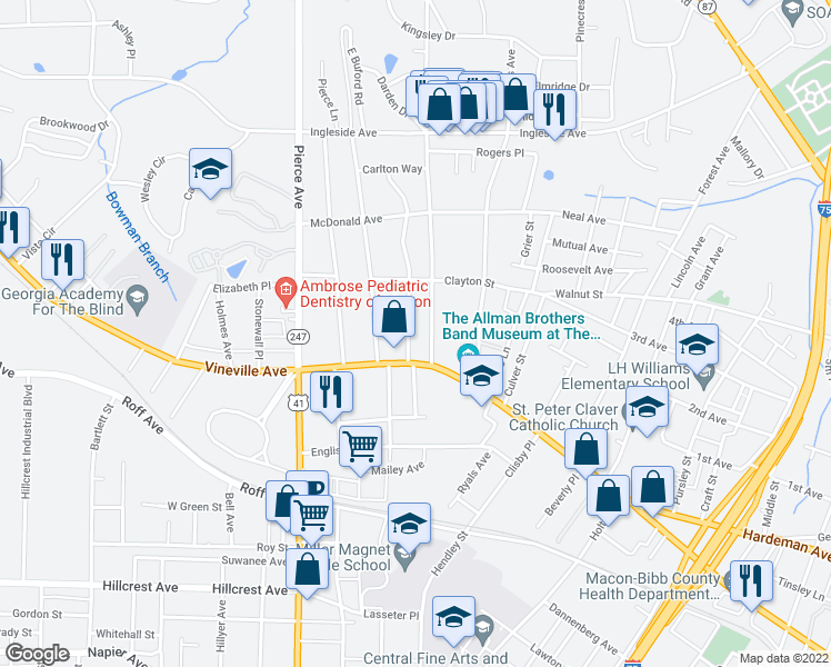 map of restaurants, bars, coffee shops, grocery stores, and more near 131 Calloway Drive in Macon