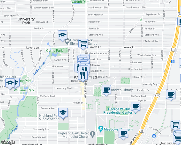 map of restaurants, bars, coffee shops, grocery stores, and more near 3327 Rosedale Avenue in Dallas