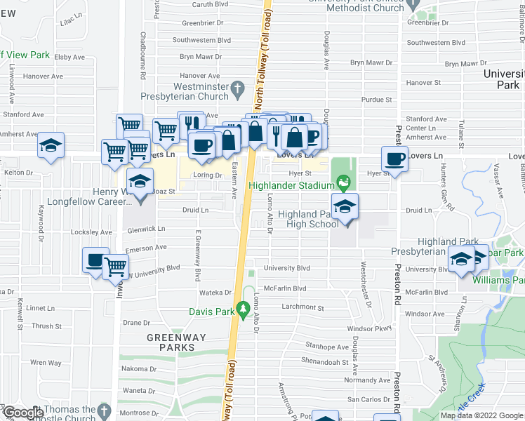 map of restaurants, bars, coffee shops, grocery stores, and more near 4501 Druid Lane in Dallas