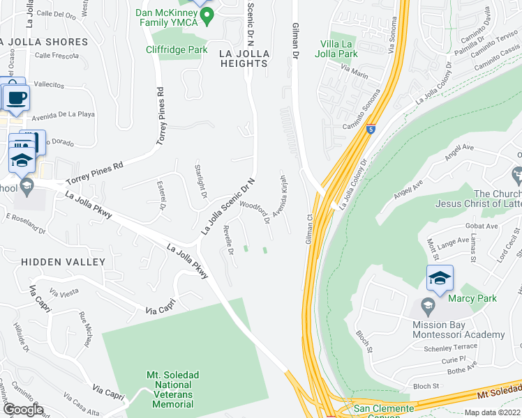 map of restaurants, bars, coffee shops, grocery stores, and more near Woodford Drive in San Diego