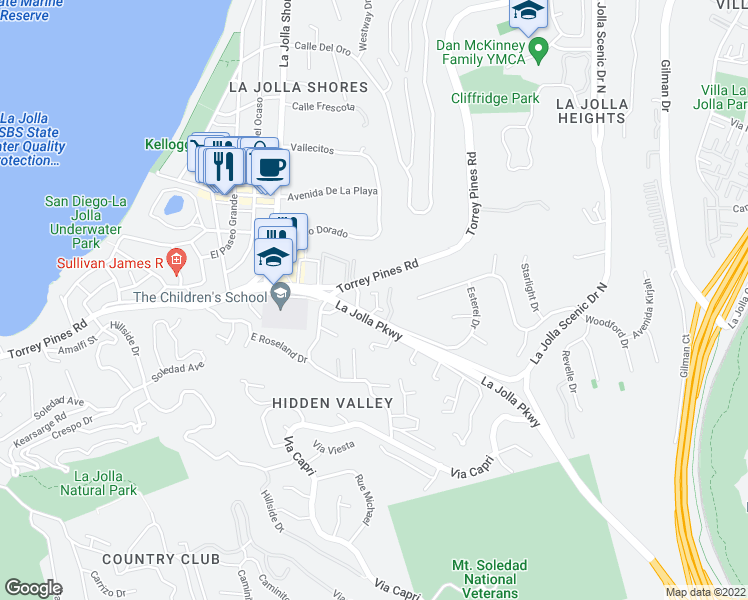 map of restaurants, bars, coffee shops, grocery stores, and more near 2450 Azure Coast Drive in San Diego