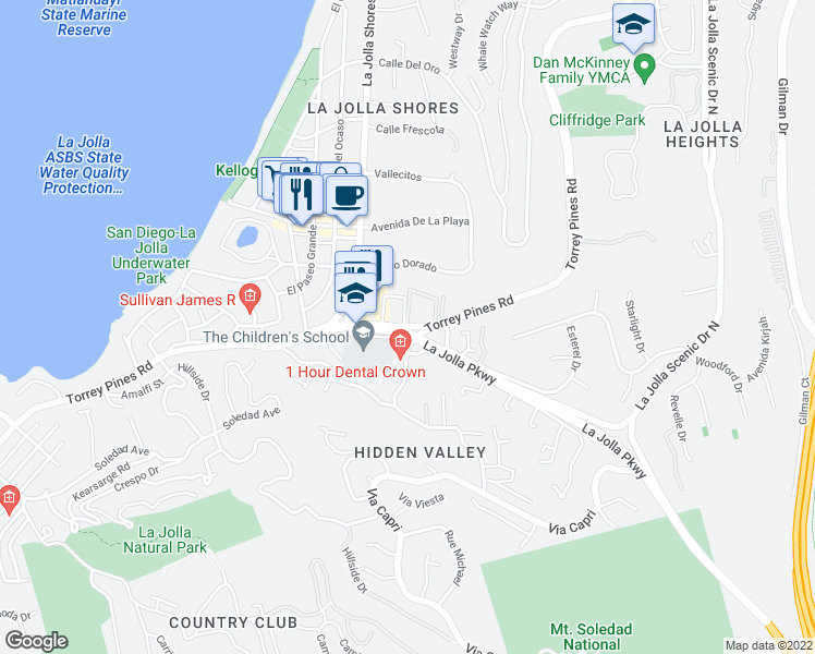 map of restaurants, bars, coffee shops, grocery stores, and more near Torrey Pines Rd & Caminito Del Cid in San Diego