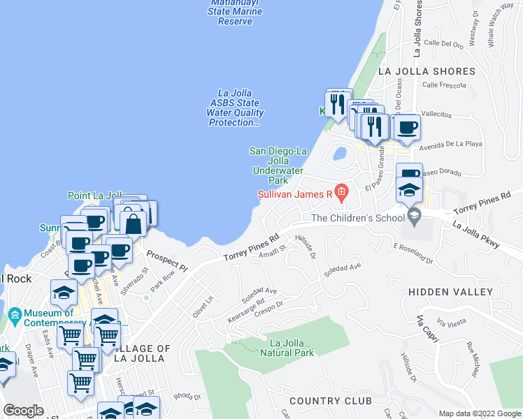 map of restaurants, bars, coffee shops, grocery stores, and more near 1828 Spindrift Drive in San Diego