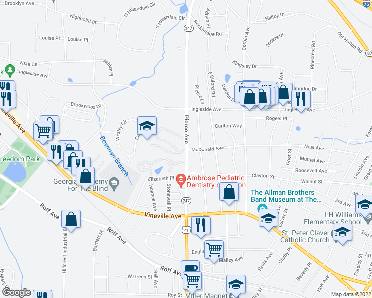 map of restaurants, bars, coffee shops, grocery stores, and more near Pierce Avenue in Macon