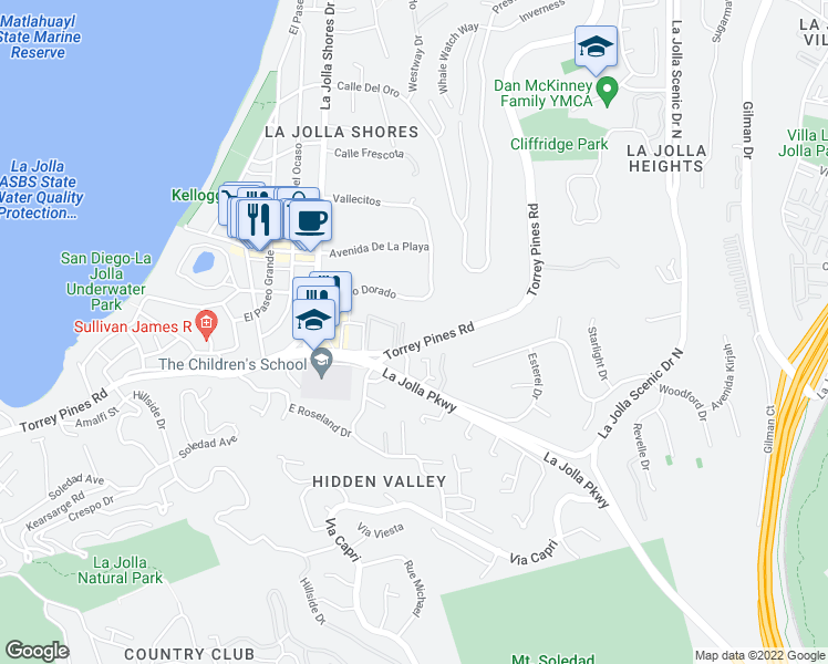 map of restaurants, bars, coffee shops, grocery stores, and more near 2404 Torrey Pines Road in San Diego