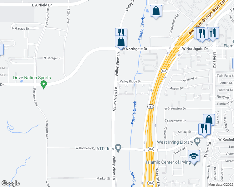 map of restaurants, bars, coffee shops, grocery stores, and more near 3608 Valley View Lane in Irving
