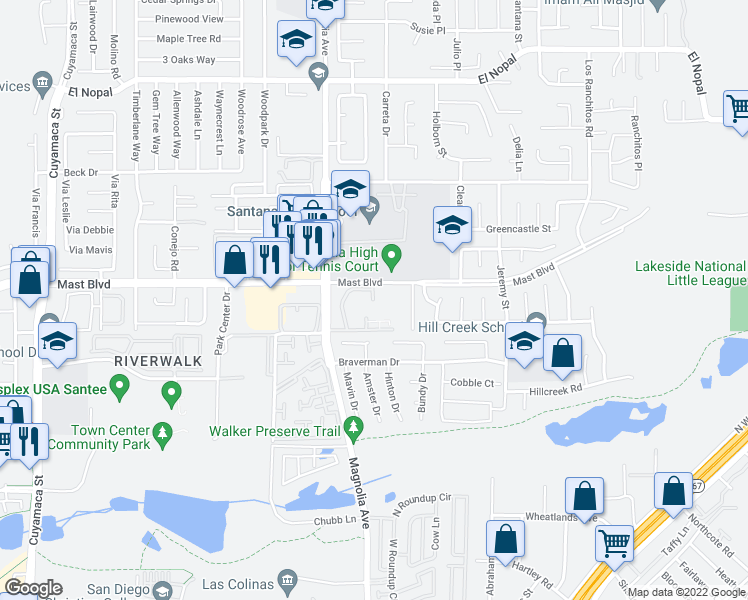 map of restaurants, bars, coffee shops, grocery stores, and more near 10445 Mast Boulevard in Santee