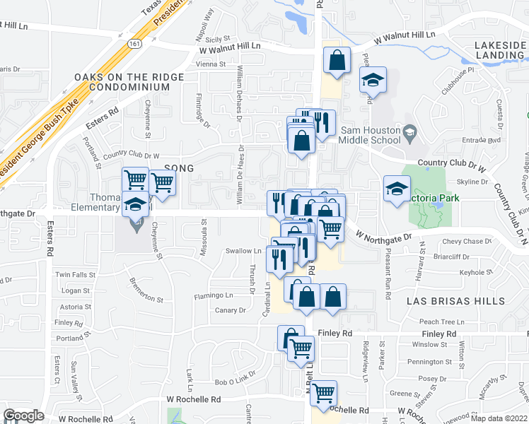 map of restaurants, bars, coffee shops, grocery stores, and more near 3541 West Northgate Drive in Irving