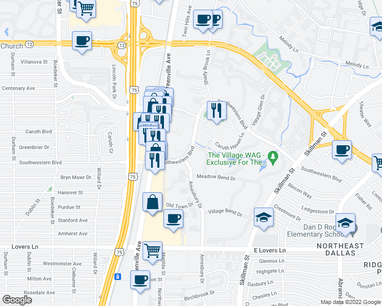 map of restaurants, bars, coffee shops, grocery stores, and more near 8541 Southwestern Blvd in Dallas
