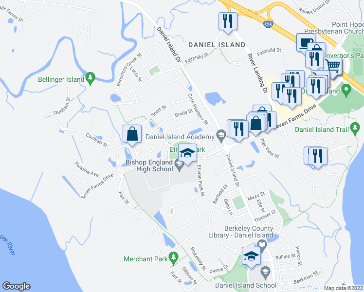map of restaurants, bars, coffee shops, grocery stores, and more near 144-156 Etiwan Park Street in Charleston