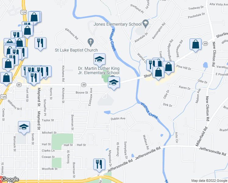 map of restaurants, bars, coffee shops, grocery stores, and more near 1284 Boone Street in Macon