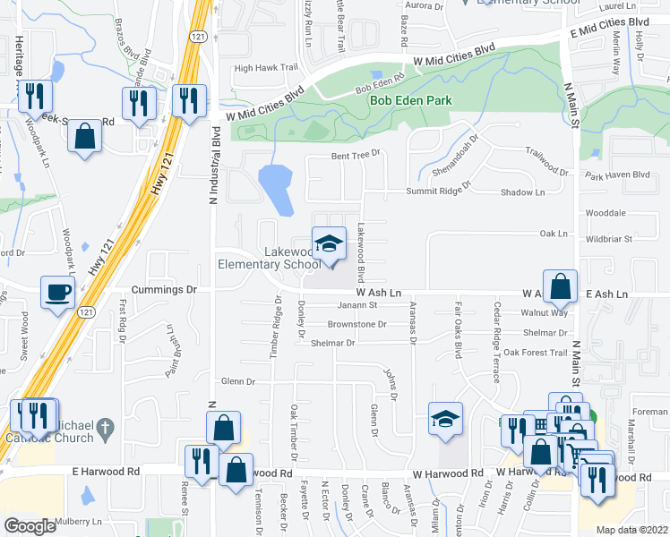 map of restaurants, bars, coffee shops, grocery stores, and more near 1711 Lakewood Boulevard in Euless