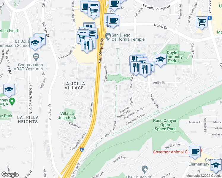 map of restaurants, bars, coffee shops, grocery stores, and more near 7039 Charmant Drive in San Diego