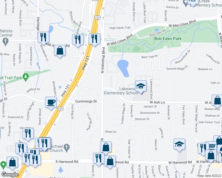 map of restaurants, bars, coffee shops, grocery stores, and more near 1000-1042 West Ash Lane in Euless
