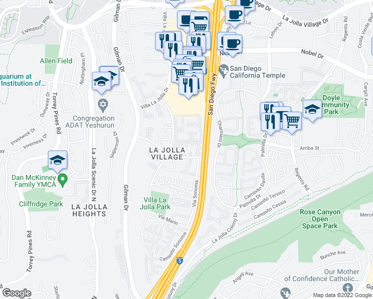 map of restaurants, bars, coffee shops, grocery stores, and more near 3384 Via Alicante in San Diego