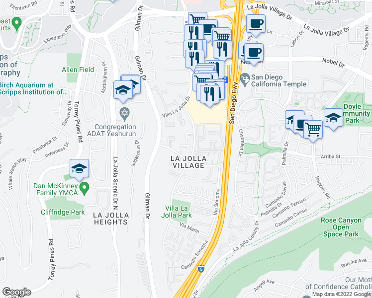 map of restaurants, bars, coffee shops, grocery stores, and more near 8520 Via Mallorca in San Diego