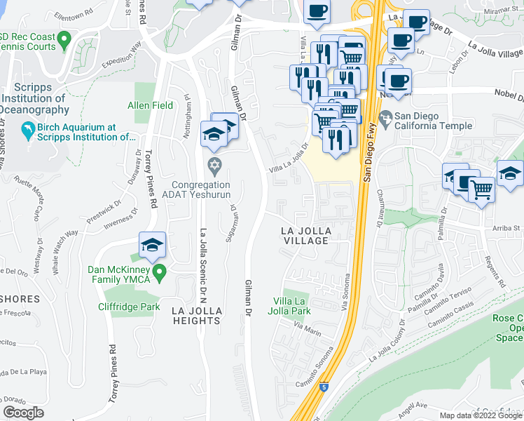 map of restaurants, bars, coffee shops, grocery stores, and more near Gilman Dr & Via Alicante in San Diego
