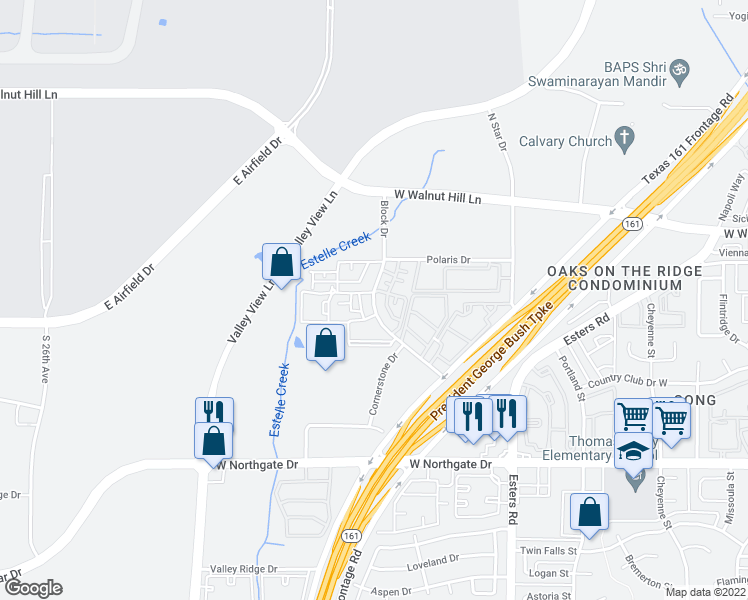 map of restaurants, bars, coffee shops, grocery stores, and more near 4023 Block Drive in Irving