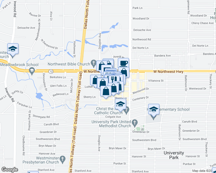 map of restaurants, bars, coffee shops, grocery stores, and more near Luther Lane in Dallas