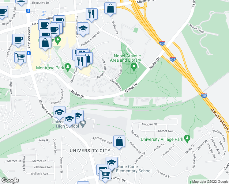 map of restaurants, bars, coffee shops, grocery stores, and more near 7204 Shoreline Drive in San Diego