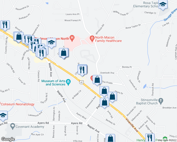 map of restaurants, bars, coffee shops, grocery stores, and more near 250 Water Tower Court in Macon