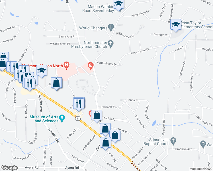 map of restaurants, bars, coffee shops, grocery stores, and more near 461 Forest Hill Road in Macon