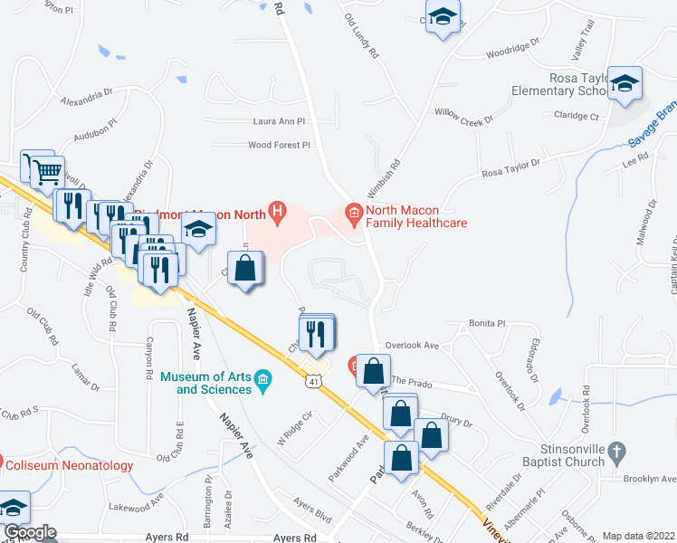 map of restaurants, bars, coffee shops, grocery stores, and more near 444 Forest Hill Road in Macon