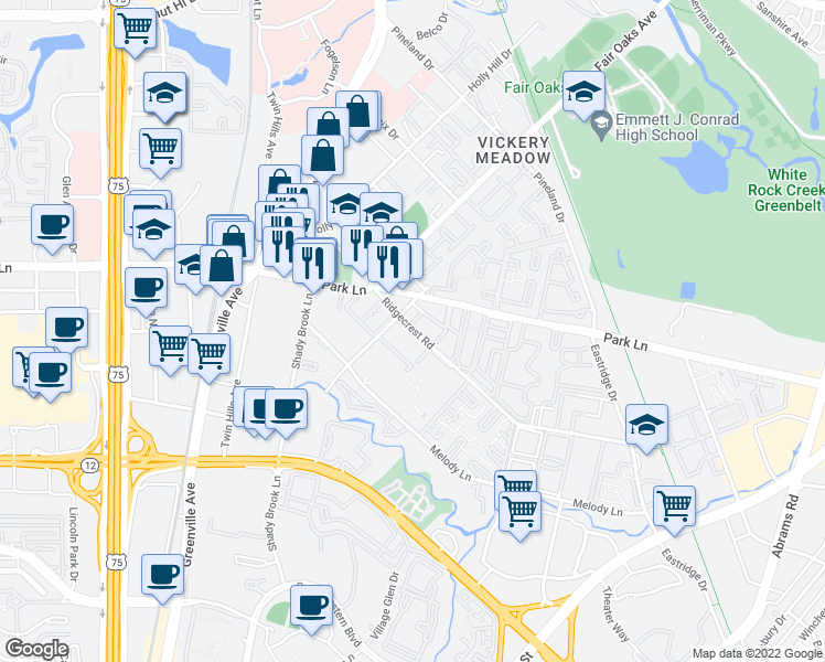 map of restaurants, bars, coffee shops, grocery stores, and more near 6036 Ridgecrest Road in Dallas