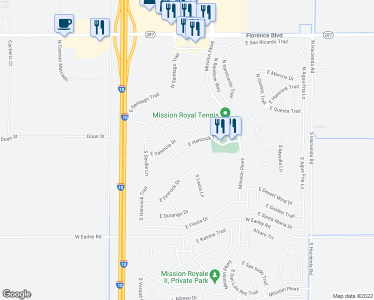 map of restaurants, bars, coffee shops, grocery stores, and more near 2467 East Hancock Trail in Casa Grande