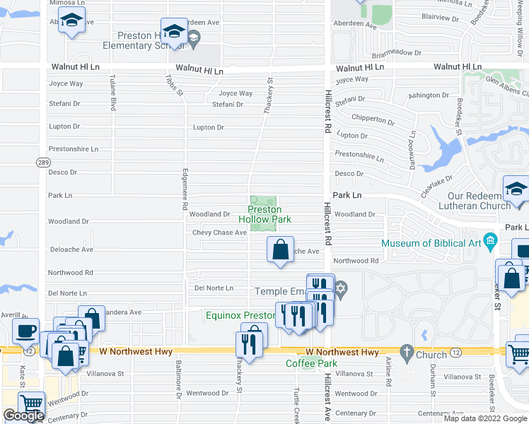 map of restaurants, bars, coffee shops, grocery stores, and more near 9000 Thackery Street in Dallas