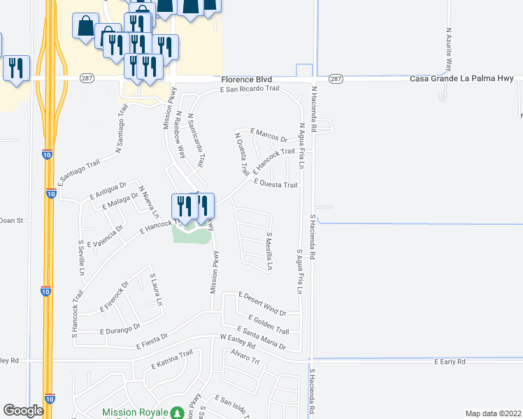 map of restaurants, bars, coffee shops, grocery stores, and more near 2622 East San Mateo Drive in Casa Grande